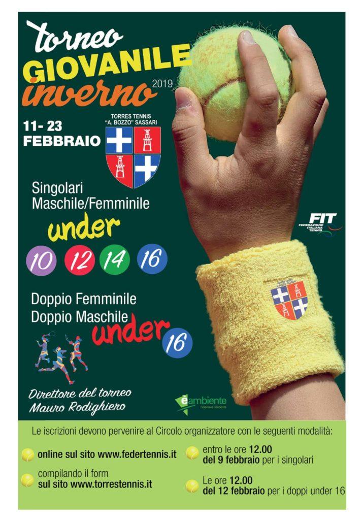 Locandina Torneo Giovanile Inverno 2019 Torres Tennis